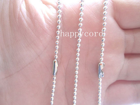 Sale 15pcs  2.4mm  27inch Plated Silver  ball necklace chain with matching connector