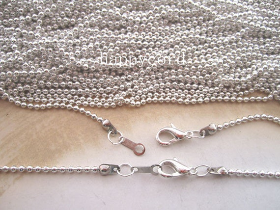 Sale 10pcs  2.0mm  20inch Plated Silver  ball necklace chain with Lobster Clasp