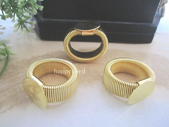 50pcs of retractable plated gold Ring Blanks 16mm