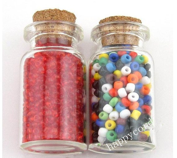 10pcs Clear Glass Wishing Bottles Vials With Cork  28x55x12.5mm