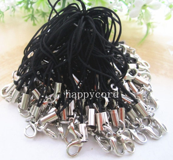 50pcs  65mm Black mobile cell phone key strap chain with silver color  lobster clasps
