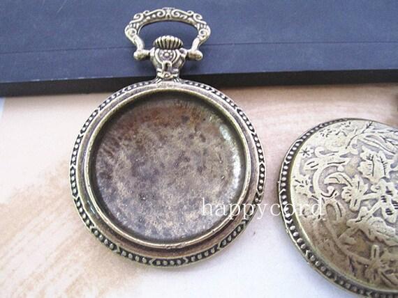 2pcs of  Antique Bronze Cobochon  Base  pendant charm 34mm