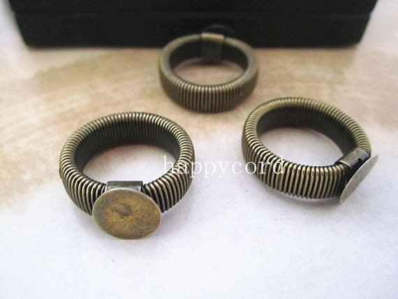 10pcs retractable antique bronze  Ring Blanks ( ring base10mm )  RP115