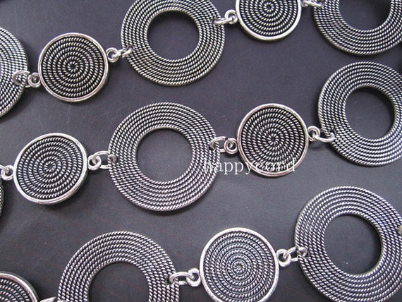 2.95ft Antique Silver Plated Metal Bali Style Beautiful Round Tibetan Chain  30mmx30mm