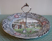 NEW PRICE Vintage W R Midwinter Landscape Pattern One Tier Cake Stand
