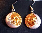 Hand Painted Celestial Sun and Moon Earrings.Hypoallergenic.