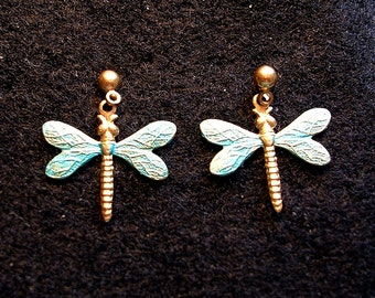 Dragonfly Earrings Medium. Turquoise