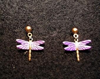 Dragonfly Earrings Small. Purple..