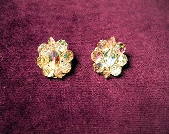 Vintage Crystal Earrings. Clip  Style .