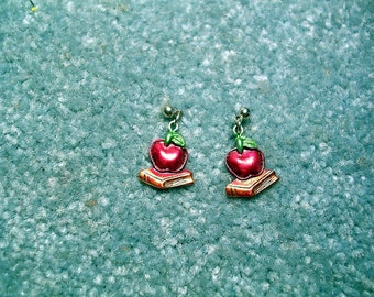 Hand Painted School  Teacher   Earrings.Apple and Books