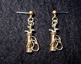 Golf Bag  Earrings in Goldtone