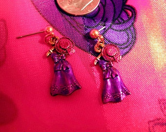 Hand Painted Red Hat Earrings. Purple Dress and Red Hat on Hanger.