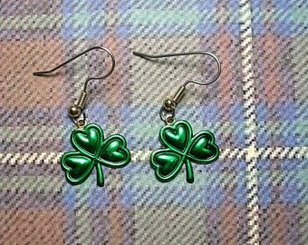 St. Paddy's Day Shamrock  Earrings. Hand Painted.Light weight