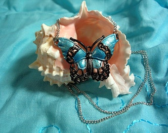 Hand Painted Butterfly Necklace. Turquoise and Black.