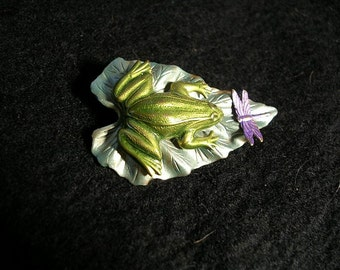 Hand Painted Frog and Dragonfly Brooch