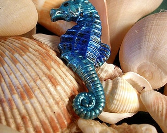 Hand Painted Sea Horse Pin. Blended Greens and Blues