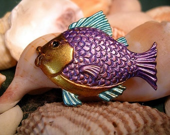 Purple  and Turquoise  Fish Pin. Hand Painted.