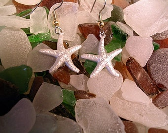 Starfish  Earrings. Hand Painted in Pearlescent White..