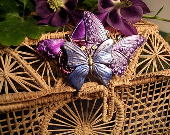 Hand Painted Purple and Blue Butterfly Collage Pin/Pendant Combination.