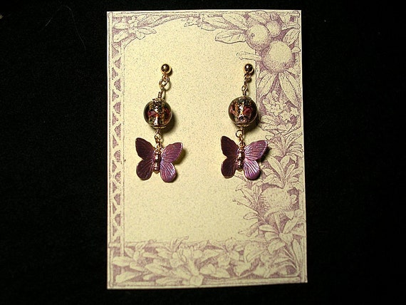 Mauve Butterfly  Fantasy Earrings. Hand Painted Brass  with Lampwork Glass Beads.