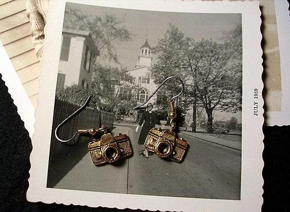Camera Earrings in a Goldtone Finish