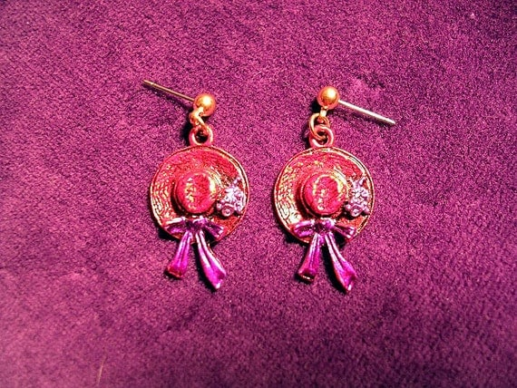 Hand Painted Red Hat Earrings