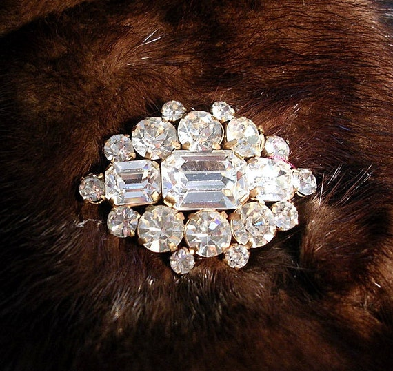 Large, Showy , Vintage Faux Diamond  Brooch. Clear  Pronged Rhinestones.Very Blingy.
