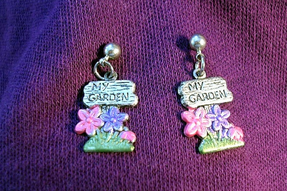 My Garden   Earrings.  Hand Painted.Perfect Gift for any Garden Enthusiast.