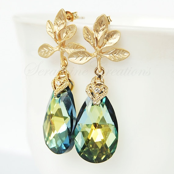 Swarovski Sahara pear shaped crystal earrings with gold plated flower posts