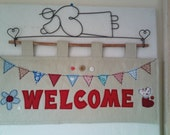 PDF Pattern for 'Welcome' Quilted Wallhanging: (Level - Advanced Beginner/Intermediate)