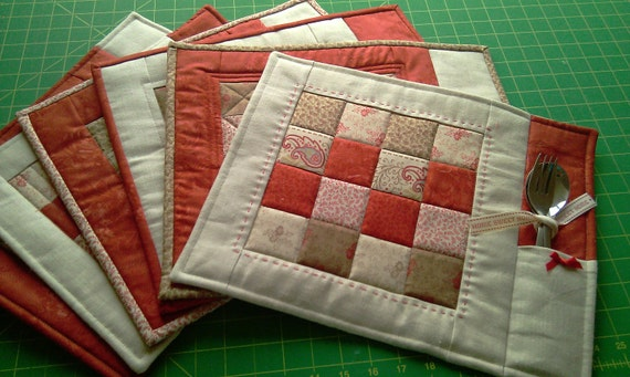 Pdf Pattern For 6 Quilted Placemats Coasters By