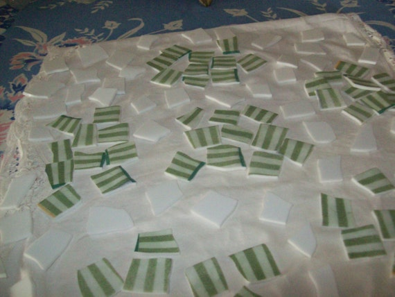 60 pcs green and white striped mosaic tile and 54 pcs white filler tile fpr altered art projects