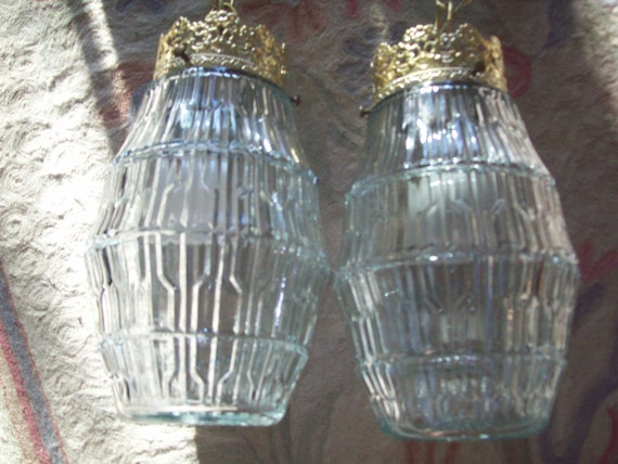 Vintage Crystal Double Globe Swag Light Fixture Hanging Lamp Mid Century