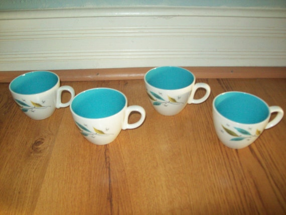 Eames Era Atomic Starburst Pottery Coffee Cups-Great Style and Coloring set of 4