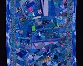 SKYLIGHT//Art Quilt: Cobalt Blue Improvisational Wall Hanging/FREE SHIPPING