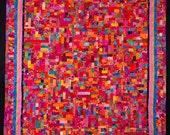 FUSION: Art Quilt Queen in Fuschia  Blue, Hot Pink and Orange