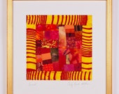 RESERVED for Sandra. SUNSET: Fine Art Framed Yellow Red Art Quilt