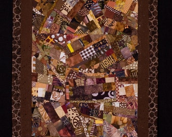 EARTH//Art Quilt: Wallhanging in Shades of Brown/FREE SHIPPING