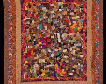 SALE/ Autumn Colors Quilt w/ Wood Grain Borders and Back Fabric: WOODLAND /Free Shipping