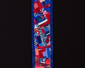 PATRIOT//Art Quilt:  Red White Blue Collage Wallhanging for Narrow Wall/FREE SHIPPING