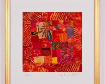 SAHARA: Fine Art Framed Orange Art Quilt