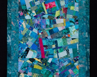 SALE//Modern Abstract Art Quilt//Turquoise Wallhanging//Free Shipping