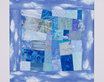 BEFORE THE RAIN: Blue Art Quilt Matted for Framing, Signed by the Artist