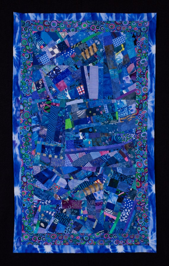 SALE//Art Quilt// Blue Wall Hanging/Free Shipping
