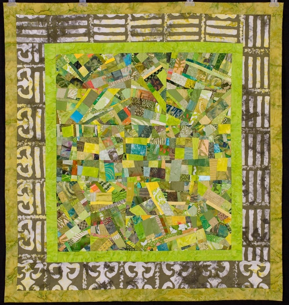 ADINKRA: Lime Green Quilt with Border Cloth from Ghana