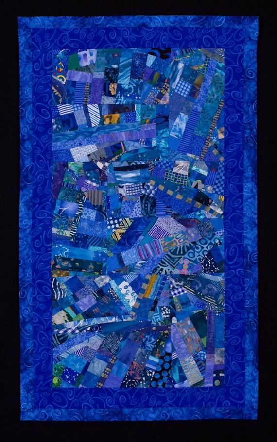 COBALT//Abstract Art Quilt: Azure & Lapis Lazuli Blue Improvisational Wallhanging