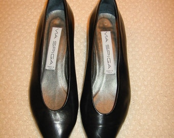 vintage womens black Via Spiga shoes size 6 1/2
