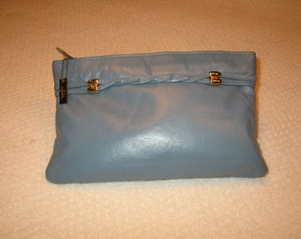 vintage blue Letisse leather clutch