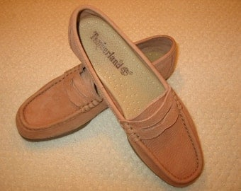 vintage womens dark salmon suede Timberland penny loafers 6 1/2M