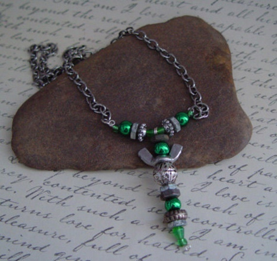 Silver & Green Beaded Wingnut Angel Charm Necklace
